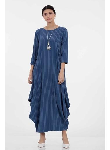 Vitrin Bol Form Çizgi Desenli Uzun Elbise İndigo